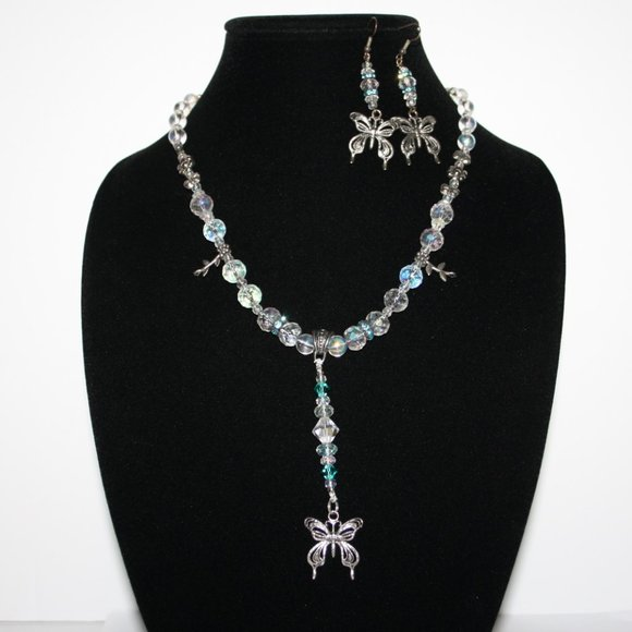 Vintagejelyfish Jewelry - Blue and crystal butterfly necklace and earrings